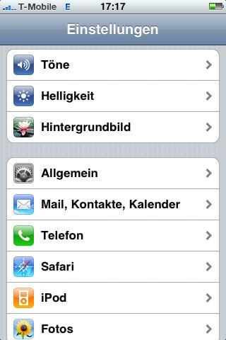Mail, Kontakte, Kalender